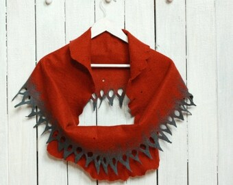 SALE Infinity scarf - felted wool circle scarf from rust and grey merino wool - autumn winter scarf