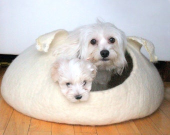 Ready to ship - pet bed - small dog bed - natural white dog bed size XL