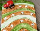 Handmade Ceramic Soap Dish - Tractor and Cotton Field