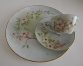 Vintage Hand Painted Limoges, Dinner Plate, Cup & Saucer, Pink Cherry Blossoms, Signed By Artist, Shabby Chic, Circa 1920