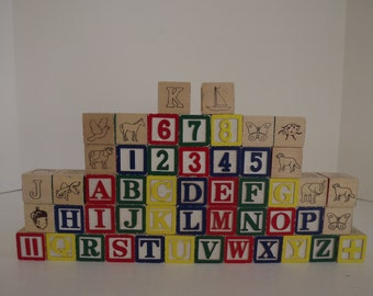 Wooden Alphabet Blocks, Set Of 50, Vintage ABC Blocks, Blocks With Letters,Numbers &  Animals, Toddler Toys, Nursery Decor