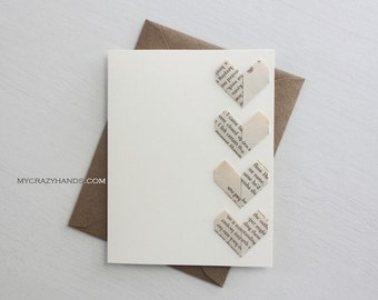 2 origami love cards || origami heart greeting cards | anniversary card | wedding cards || A2 card with envelopes -4 vintage hearts