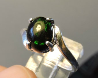 Black Opal 9x7mm  Cabochon Sterling Silver Ring size 6.5