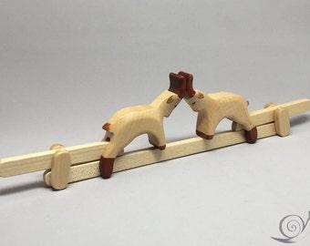 "Toy Goats movable wood  colourful ""Zankzicken"" | Size: 31,0 x 85 x 2,2 cm (b x h x s)  ca. 110,0 gr."