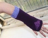 RESERVED; Fingerless arm warmers - knitted Irish wool - Celtic design - purple