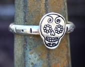 Sterling Silver Ring - Sugar Skull, Día de los Muertos, Day of the Dead