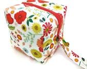 KNITTING PROJECT BAG - Sock Cube, Zippered Box Bag, Roots and Wings, Zippered Project Bag, Knitting Bag, Crochet, Sock Bag, Hat Bag