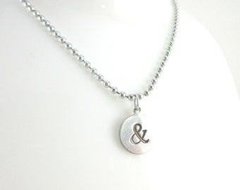 Ampersand Necklace, Hand Stamped Jewelry, Alkeme Metal Charm, Aluminum Ball Chain Necklace, Stamped Disc Necklace, Punctuation Jewelry
