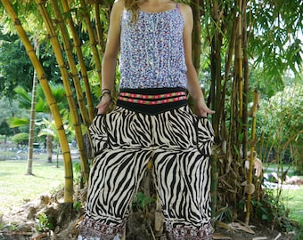Thai Pants Cotton, Zebra Design, Ribbon Waistband (S-M-L) One size fits all