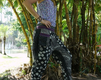 Thai Tribe pants, Cotton, Black and White with Hmong Hill Tribe print