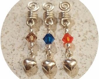 Loc Jewelry X 3 Spiral Sterling Silver wire, Swarovski Crystal,Sterling Silver Heart hair Jewelry small dreadlocks / microlocs
