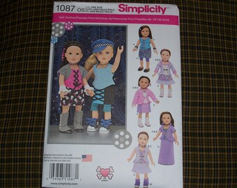 Simplicity 1087..American Girl Doll Pattern..18 Inch Doll Pattern....Cute New 2015 Patterns