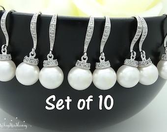 Bridesmaid earrings set of 10 Earrings Pearl Earrings Swarovski Crystal Bridesmaid jewelry sets Wedding Jewelry Bridesmaid Gift 15%Off