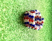 Patriotic Red White and Blue Expandable Stripe Glass Rocaille Memory Wire seed bead Ring, 4th July