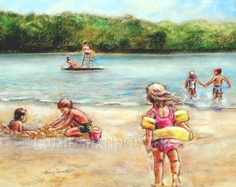 "Beach children playing - ORIGINAL pastel painting - Childhood Days at the Lake"" Laurie Shanholtzer 18x22"