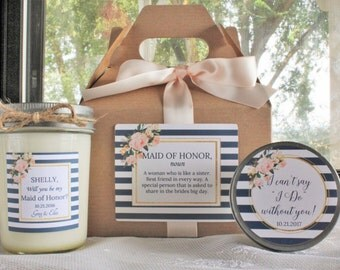 Will You Be My Bridesmaid Gift/ Will you be my Maid of Honor Gift/Navy & Blush Bridesmaid Gift// Bridesmaid Candle/ Sugar Scrub