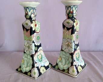 Cloisonne Enamel Blue Floral Candleholders Pair Asian Marked