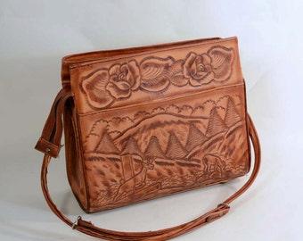 Vintage 50s Tooled Leather Boho Shoulder Handbag, Deer Roses Very  Detailed, Hipster Hippie Satchel Purse