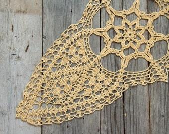 Yellow Crochet Doily Vintage doily