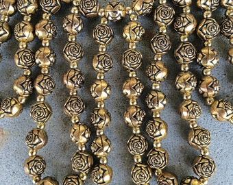 Vintage huge bib necklace rose brass beads 1960s statement