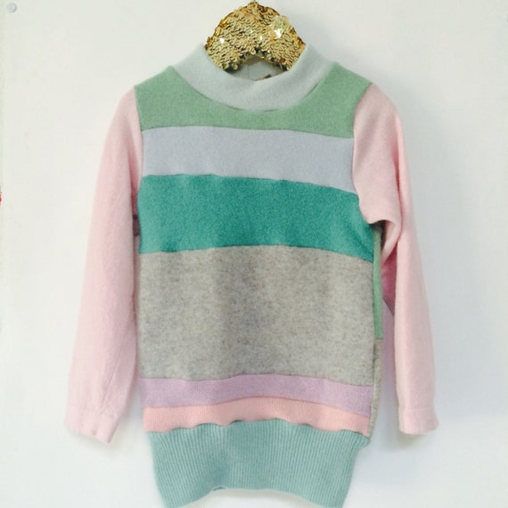 FOLD Kids 5-6 Years Jumper Sweater Top in Cashmere Handmade Upcycled Unisex A