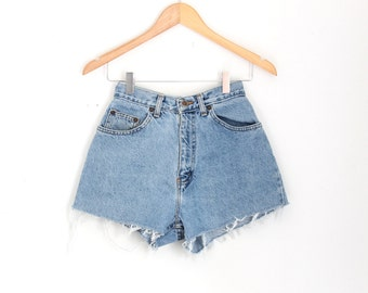 "Waist 25"" High Waisted Vintage Denim Shorts"