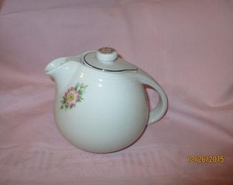 Vintage Hall's Rose White  Tea Pot w/ lid - 1940's