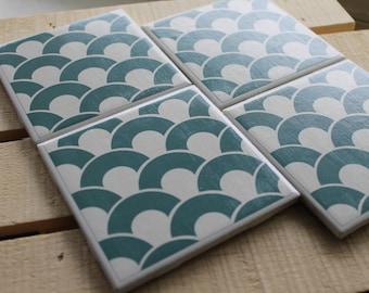 Teal Geometric Four Piece Ceramic Coaster Set