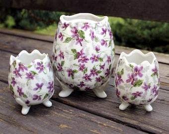 Vintage Inarco Japan Egg Vase Set of 3, Purple Violets, Flowers, Antique