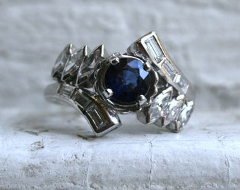 RESERVED - Pretty Vintage 14K White Gold Diamond and Sapphire Cluster Ring Engagement Ring - 1.90ct.