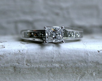RESERVED - Vintage 14K White Gold Princess Cut Diamond Engagement Ring - 1.10ct.