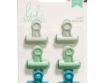 Mint Green and Turquoise Bulldog Clips - Set of 6 - for Scrapbooks, Journals and More, by Heidi Swapp