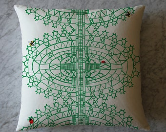 Pillow with Insects and Green Lace Pattern. April 14, 2014