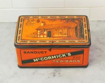 Vintage McCormick's tea tin, 1930's lithographed tin