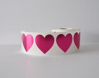 Heart Stickers Valentines Stickers Envelope Seals Wedding Seals 50 Metallic Pink Heart Stickers 1.5 Inch