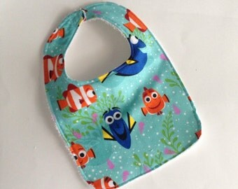 Finding Dory Baby bib,  Finding Dory Bib, Dory baby bib, Dory Bib, Nemo bib, Nemo baby bib, Finding Nemo bib, Terry cloth back baby bibs