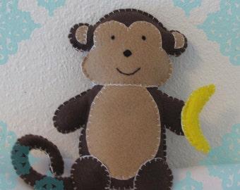 Brown Monkey with Banana Stuffed Doll
