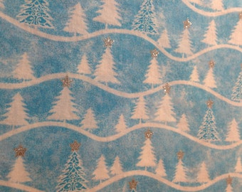 1 Yard 100% Cotton Blue/Christmas/Winter Print Fabric