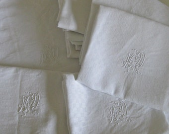 Large white tablecloth with 10 napkins beautiful French damask set with monograms MD