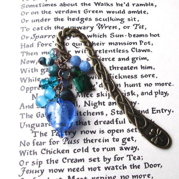 Statement Bookmark, Blue Beads, Unique Bookmark, Cluster Bookmark, Teacher Gift, Summer Finds, Payday Treat, 30th Birthday Gift, Mum Gift