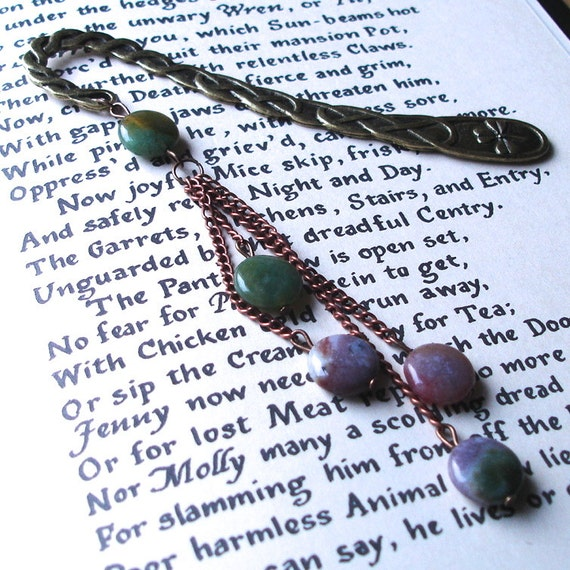 Statement Bookmark, Agate Beads, Unique Bookmark, Cascade Bookmark, Teacher Gift, Summer Finds, Payday Treat, 30th Birthday Gift, Mum Gift