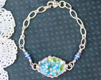 Broken China Bracelet, Broken China Jewelry, Forget Me Nots, Sterling Silver Chain, Soldered Jewelry