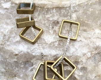 Seven brass SQUARES sterling silver layering necklace