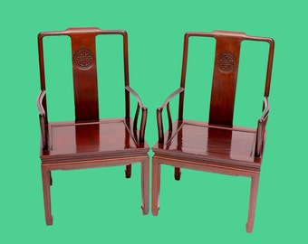 Chinese Chairs Ming Style Rosewood Armchairs with Longevity Symbol