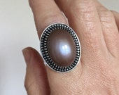 Pink Moonstone Ring Fine Silver and Sterling Silver Statement Ring Size 8/Q