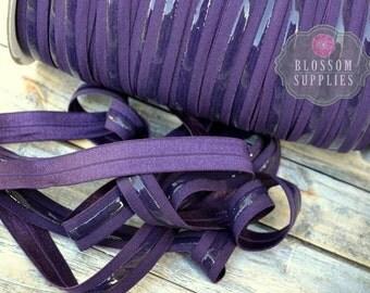 NO SLIP - Silicone Lined Elastic - 2, 5, or 10 Yards Dark Purple 5/8 Inch Fold Over Elastic - Shiny foe - Baby Headband Elastic Eggplant