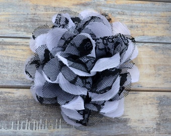 WHITE/BLACK Flowers - The Charlotte Collection - Small Shabby Chiffon and Lace Puff Flowers - DIY Headbands - Fabric Flower Head Blossoms