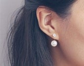ON SALE CZ diamond front and Pearl back earrings - two way pearl earrings