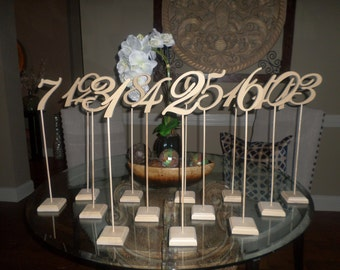 Wood Wooden Wedding Reception Birthday Party Table Numbers Stand 1-15