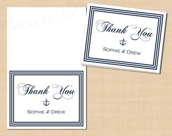 Nautical Navy Stripes Thank You Cards (Fold to 5.5x4.25): Text-Editable in Microsoft® Word, Printable, Instant Download